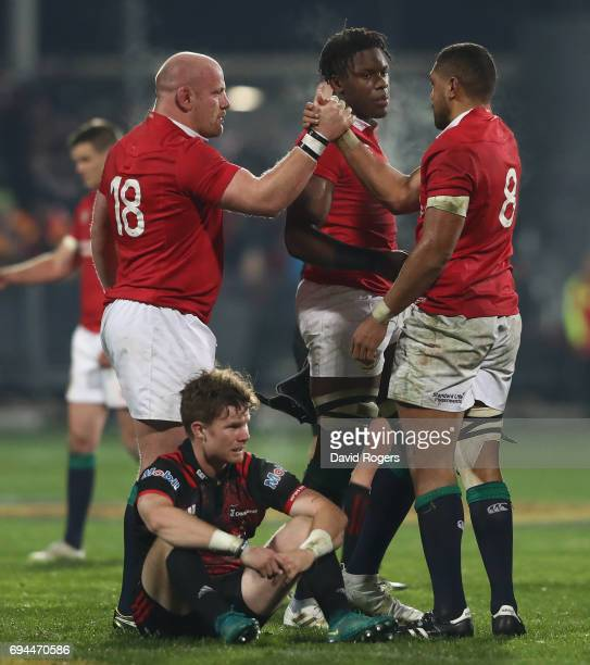 Taulupe Faletau Maro Itoje and Dan Cole of the Lions celebrate victory during the match between the Crusaders and the British Irish Lions at AMI...
