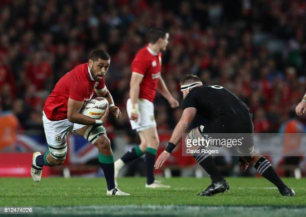 Taulupe Faletau of the Lions breaks with the ball during the Test match between the New Zealand All Blacks and the British Irish Lions at Eden Park...