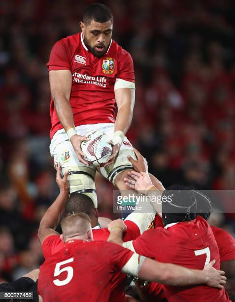 Taulupe Faletau of the Lions claims a lineout ball during the first test match between the New Zealand All Blacks and the British Irish Lions at Eden...