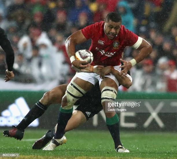 Taulupe Faletau of the Lions is tackled during the match between the New Zealand All Blacks and the British Irish Lions at Westpac Stadium on July 1...