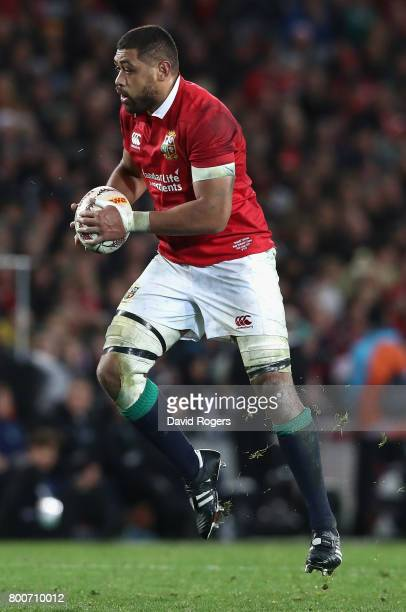 Taulupe Faletau of the Lions runs with the ball during the Test match between the New Zealand All Blacks and the British Irish Lions at Eden Park on...