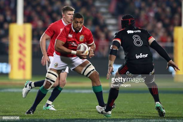 Taulupe Faletau of the Lions takes on Jordan Taufua during the match between the Crusaders and the British Irish Lions at AMI Stadium on June 10 2017...