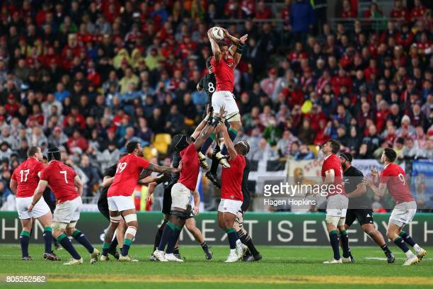Taulupe Faletau of the Lions wins a lineout during the International Test match between the New Zealand All Blacks and the British Irish Lions at...