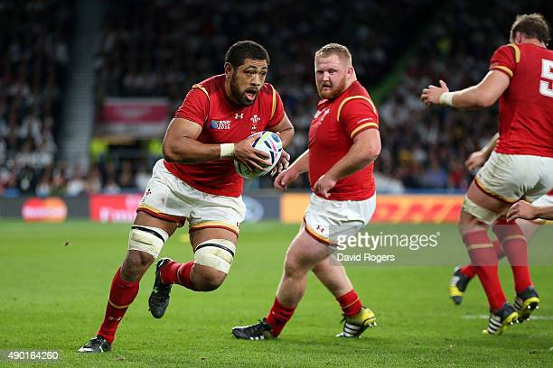 Taulupe Faletau of Wales attacks during the 2015 Rugby World Cup Pool A match between England and Wales at Twickenham Stadium on September 26 2015 in...