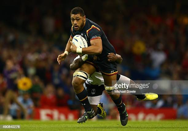 Taulupe Faletau of Wales attempts to break through during the 2015 Rugby World Cup Pool A match between Wales and Fiji at the Millennium Stadium on...