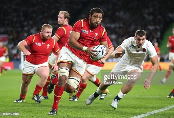 Taulupe Faletau of Wales breaks with the ball during the 2015 Rugby World Cup Pool A match between England and Wales at Twickenham Stadium on...