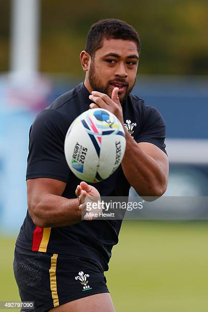Taulupe Faletau of Wales in action during a Wales Training session ahead of their Rugby World Cup Quarter Final against South Africa on October 15...