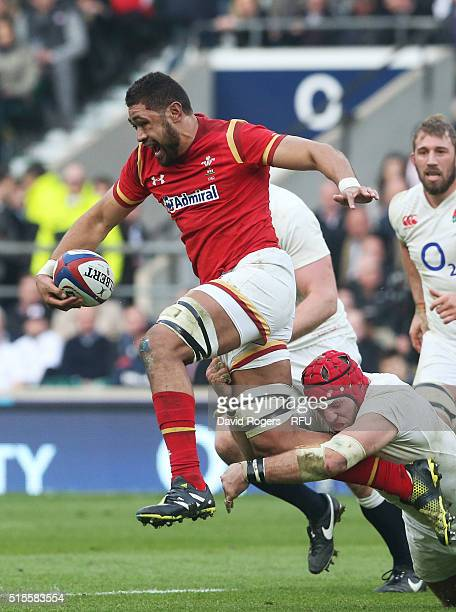 Taulupe Faletau of Wales is tackled by James Haskell of England during the RBS Six Nations match between England and Wales at Twickenham Stadium on...