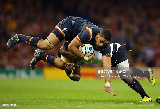 Taulupe Faletau of Wales is tackled during the 2015 Rugby World Cup Pool A match between Wales and Fiji at the Millennium Stadium on October 1 2015...