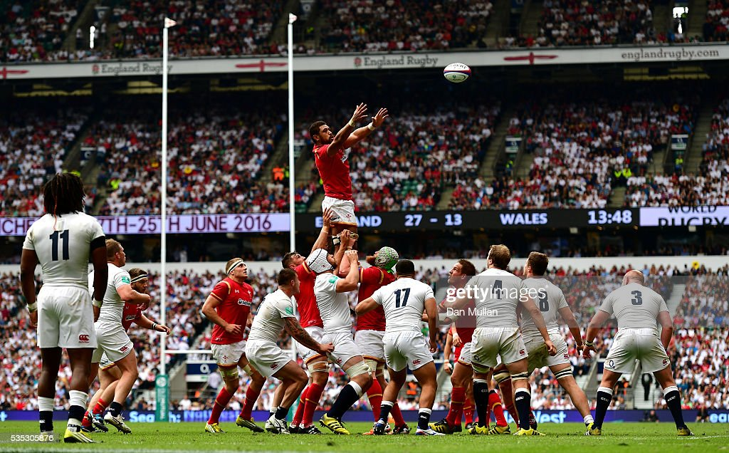 <a gi-track='captionPersonalityLinkClicked' href=/galleries/search?phrase=Taulupe+Faletau&family=editorial&specificpeople=12444794 ng-click='$event.stopPropagation()'>Taulupe Faletau</a> of Wales rises to claim the lineout during the Old Mutual Wealth Cup match between England and Wales at Twickenham Stadium on May 29, 2016 in London, England.