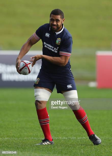 Taulupe Faletau passes the ball during the British Irish Lions training session held at the QBE Stadium on June 5 2017 in Auckland New Zealand
