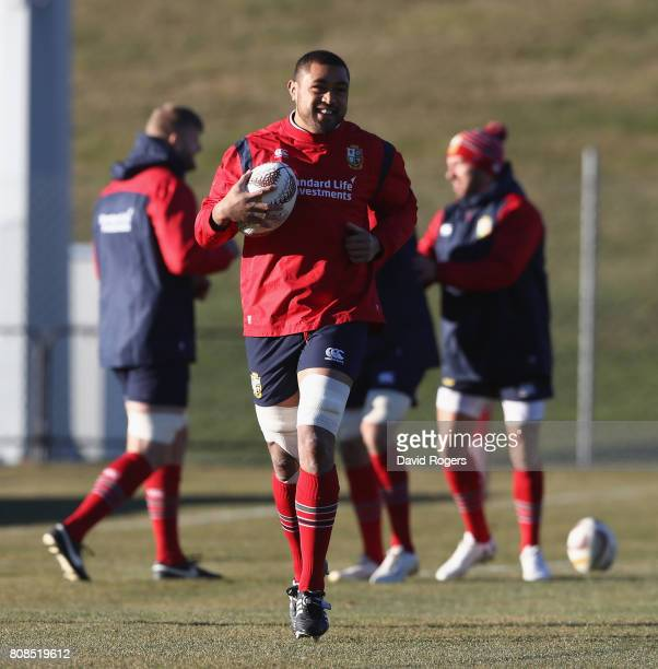 Taulupe Faletau runs with the ball during the British Irish Lions training session at the Queenstown Event Centre on July 5 2017 in Queenstown New...