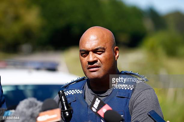 Taupo District Area Commander Warrick Morehu holds a press conference at the police roadblock on the outskirts of Kawerau on March 10 2016 in Rotorua...