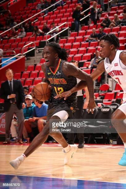 Taurean Prince of the Atlanta Hawks handles the ball against the Detroit Pistons on October 6 2017 at Little Caesars Arena in Detroit Michigan NOTE...