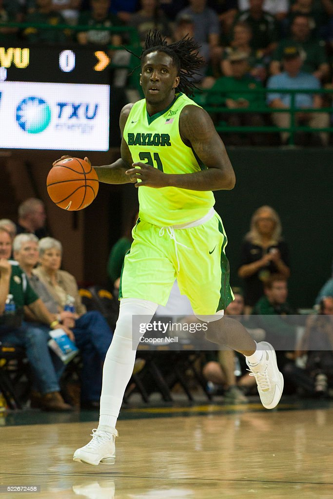 Taurean Prince of the Baylor Bears brings the ball up court against the West Virginia Mountaineers on March 5 2016 at the Ferrell Center in Waco Texas