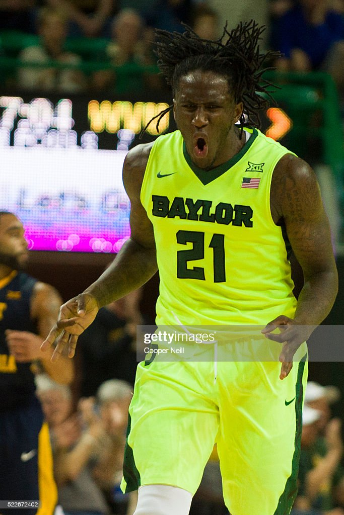Taurean Prince of the Baylor Bears celebrates after a made threepointer against the West Virginia Mountaineers on March 5 2016 at the Ferrell Center...