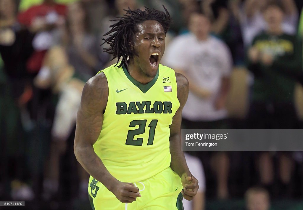 Taurean Prince of the Baylor Bears celebrates after scoring against the Iowa State Cyclones in the first half at Ferrell Center on February 16 2016...