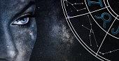 Taurus Horoscope Sign. Astrology women night sky background