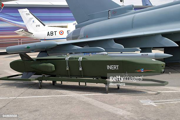 Taurus missile is pictured next to a Eurofighter mockup at the Paris Air Show in Le Bourget France Thursday June 16 2005