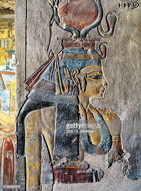 Tausert wife of Siptah frescoed column antechamber to the Tomb of Tausert and Sethnakht also known as Tomb KV14 Valley of the Kings Theban Necropolis...