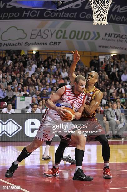 Tautvydas Lydeka of Consultinvest competes with Josh Owens of Umana during the LegaBasket match between Reyer Umana Venezia vs Victoria Libertas...