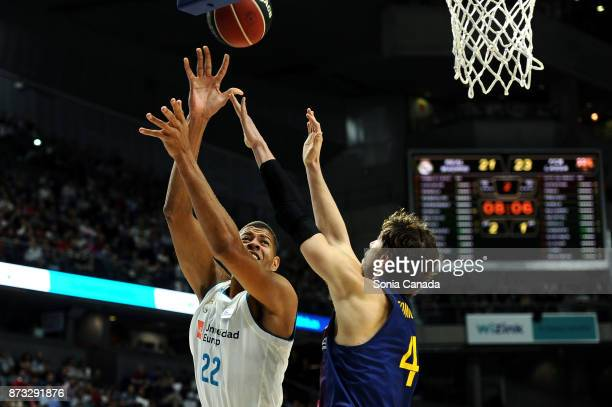 Tavares #22 center of Real Madrid and Ante Tomic #44 center of FC Barcelona Lassa during the Liga Endesa game between Real Madrid and FCB Lassa at...