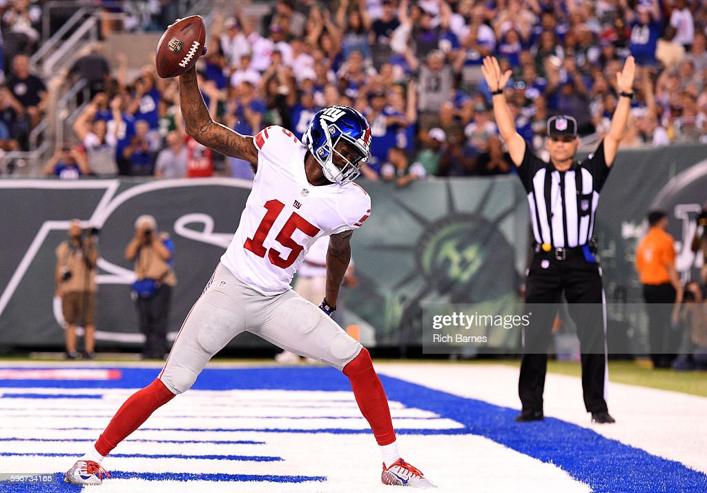 Tavarres King of the New York Giants celebrates a touchdown against the New York Jets during the third quarter at MetLife Stadium on August 27 2016...