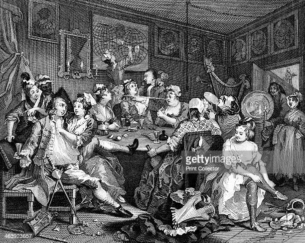 Tavern scene from 'The Rake's Progress' 1735 Plate II in William Hogarth's series of eight illustrations originally published in 1735 Here the Rake...