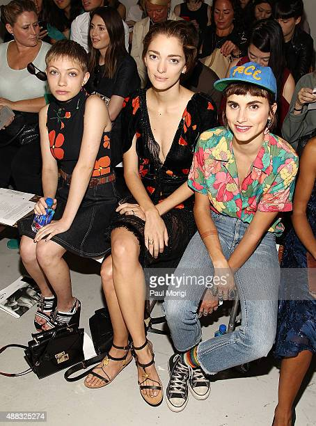 Tavi Gevinson Sophia Sanchez and Langley Fox Hemingway attend Rodarte Spring 2016 at New York Fashion Week at Center 548 on September 15 2015 in New...