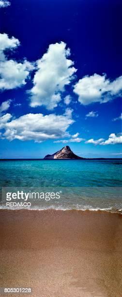 Tavolara island seen from Porto Taverna beach San Teodoro Sardinia Italy
