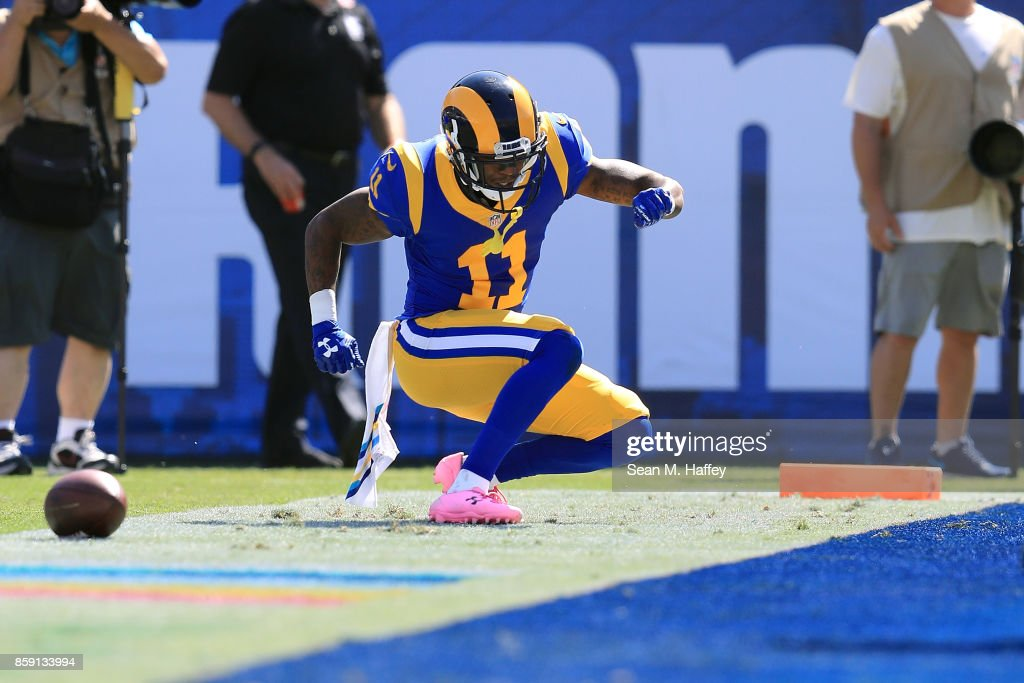Tavon Austin #11 of the Los Angeles Rams celebrates after scoring a touchdown during the game against the Seattle Seahawks at the Los Angeles Memorial Coliseum on October 8, 2017 in Los Angeles, California.