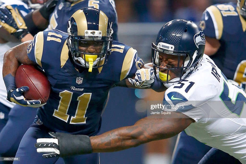 Tavon Austin #11 of the St. Louis Rams rushes against the Seattle Seahawks in the first quarter at the Edward Jones Dome on September 13, 2015 in St. Louis, Missouri.