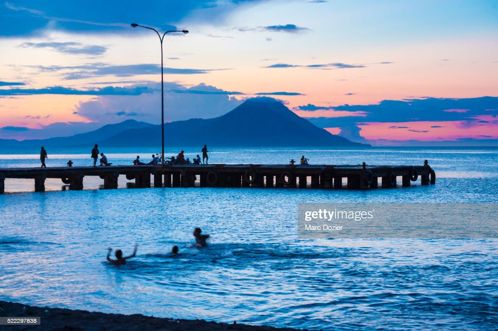 Tavurvur volcano from Rabaul town