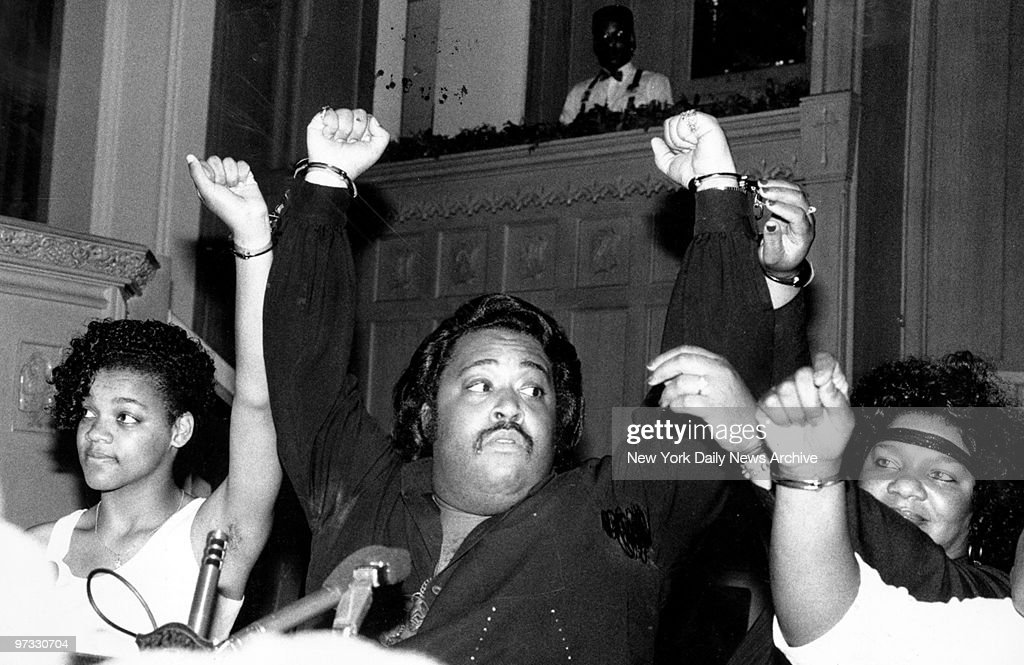 Tawana Brawley, the Rev. Al Sharpton, and Glenda Brawley (l. to r.) are handcuffed to one another as they prepare to leave church for bus trip to Democratic Convention in Atlanta.,