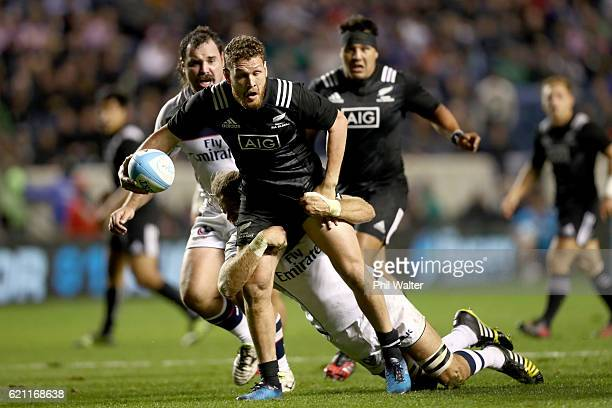Tawera KerrBarlow of the Maori All Blacks is tackled during the Intenational Rugby Match between the USA Eagles and the New Zealand Maori All Blacks...