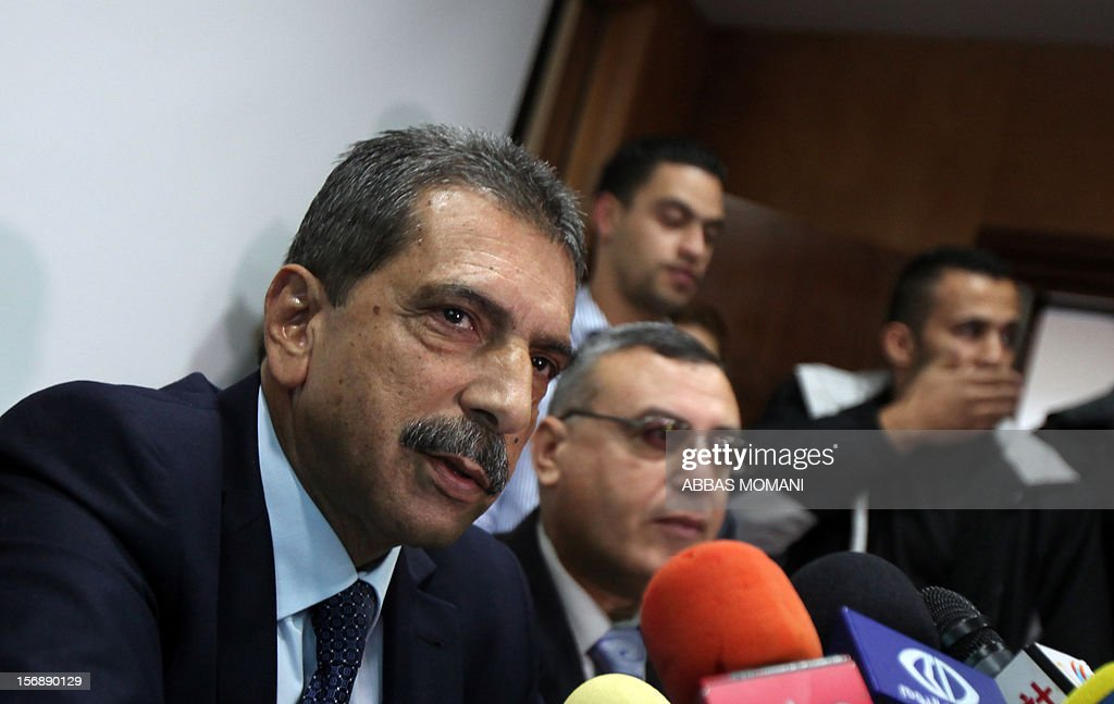 Tawfiq Tirawi, the head of the Palestinian inquiry team into the death of the late Palestinian leader Yasser Arafat, speaks to reporters during a press conference in the West Bank city of Ramallah, on November 24, 2012. The body of Arafat will be exhumed on November 27 to undergo poison tests, Tirawi said. Rumours and speculation have surrounded Arafat's death ever since a quick deterioration of his condition saw him pass away at the Percy military hospital in suburban Paris in November 2004 at the age of 75.