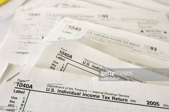 Tax forms from previous years are displayed at Latino Taxes April 10 2007 in Oakland California US taxpayers are rushing to meet the Tuesday April...