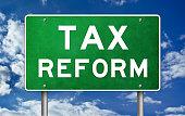 Tax reform - road sign