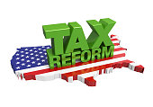 Tax Reform with United States Map isolated on white background. 3D render