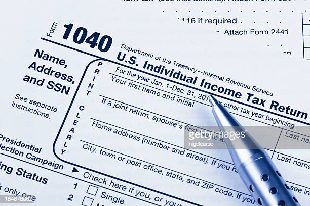 US 1040 Tax Return Form with Pen