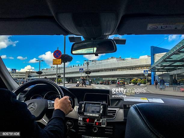 Taxi arriving at Arlanda Airport, Stockholm, Sweden