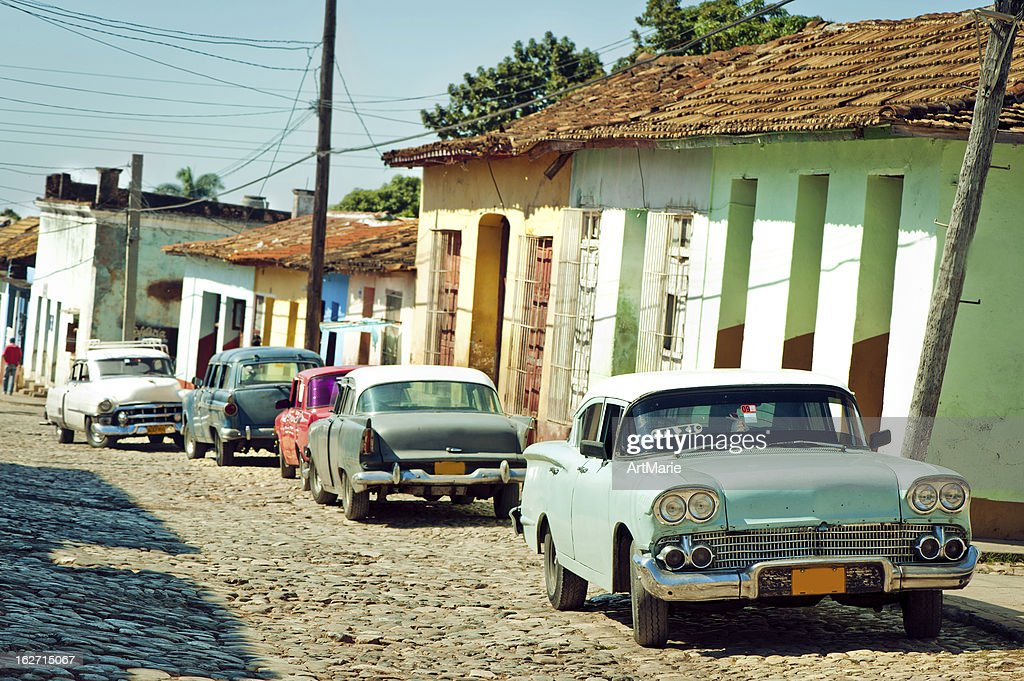 Taxi at a street of Trinidad, Cuba