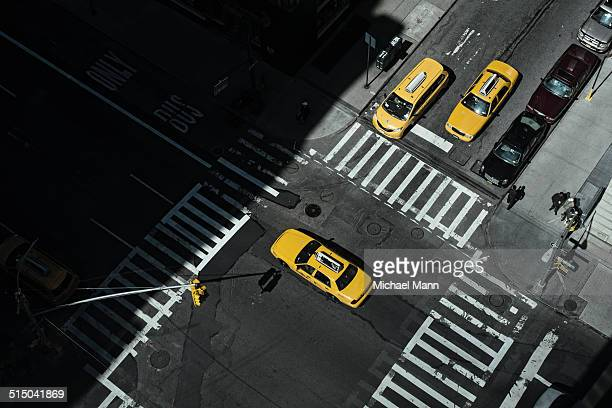 Taxi at crossing in Manhattan, New York, USA