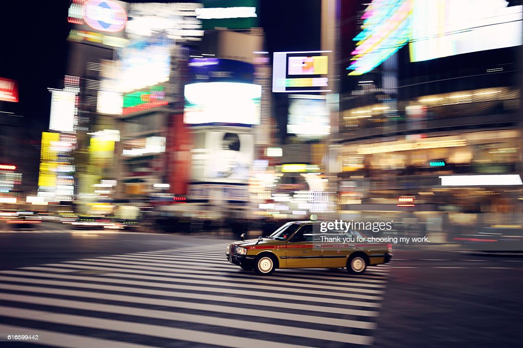 Taxi at night : Stock Photo