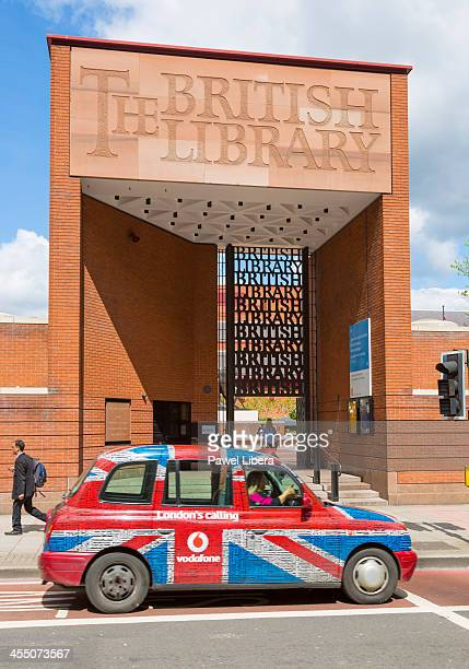 Taxi at the front of The British Library
