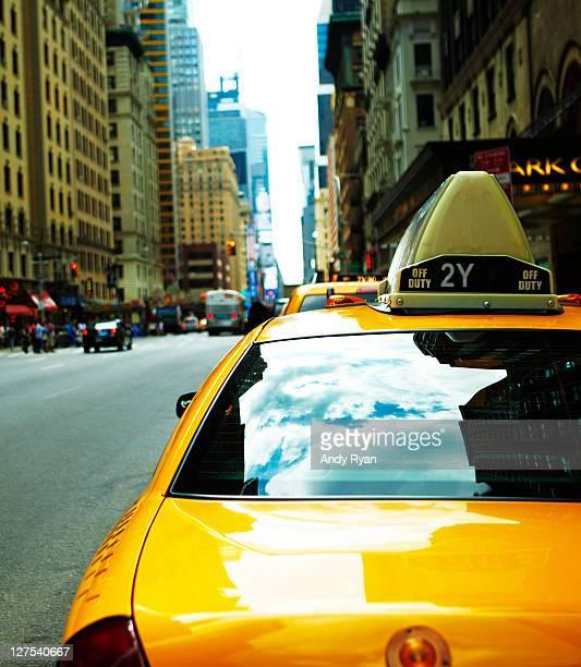 Taxi cab on New York street.