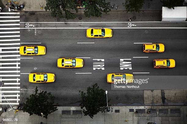 Taxi Cabs in NYC, high angle view