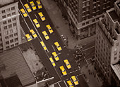 Taxi cabs in street, elevated view
