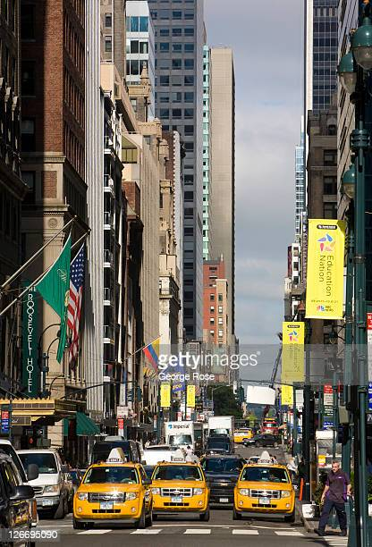 Taxi cabs on 44th Street are viewed on September 10 2011 in New York City The borough of Manhattan was a tense mix of tourists and heavy security on...