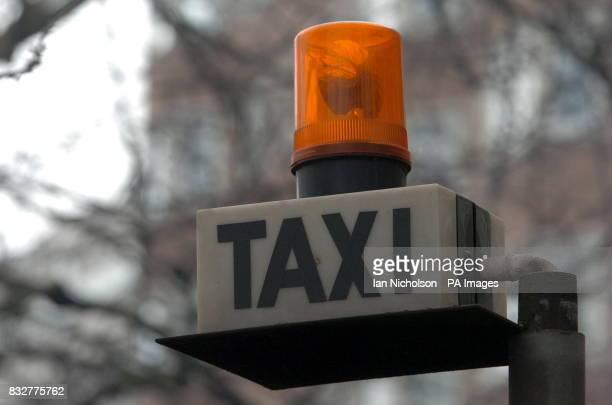 A taxi call light outside a west London hotel